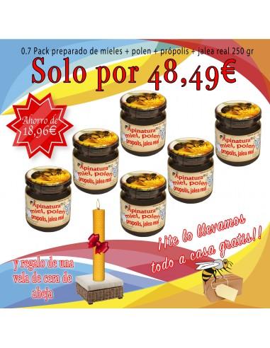 0.7 Pack miel + polen + própolis + jalea real 250 gr